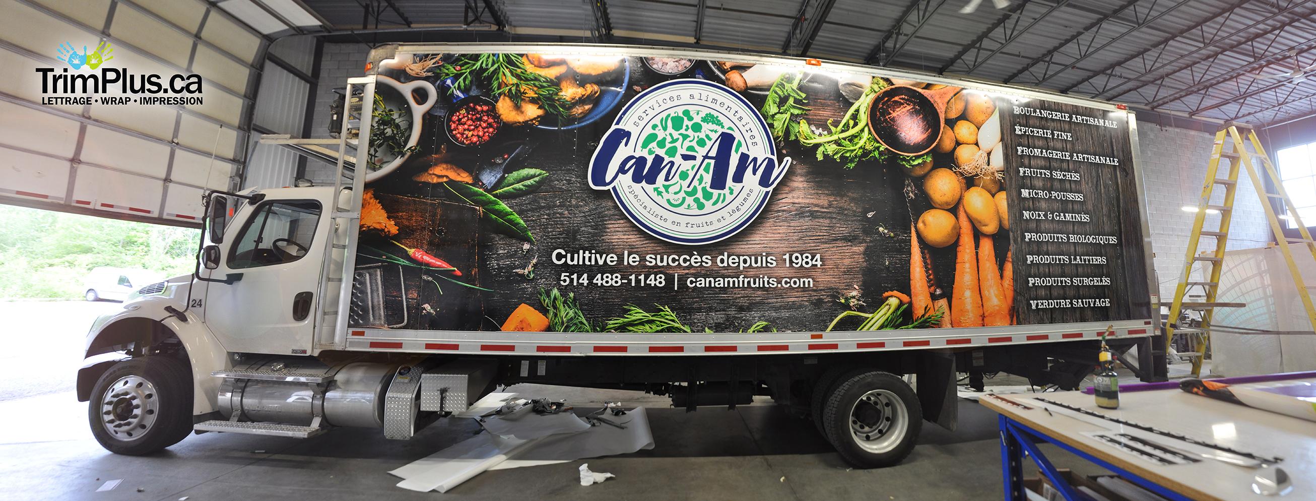 Lettrage de camion Canam